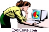 Vector Clip Art image  of a Woman working at computer