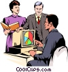 Men & women meeting at computer Vector Clip Art graphic