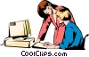 Vector Clipart image  of a Two businesswomen at computer