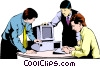 Men meeting at computer Vector Clipart illustration
