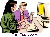 Vector Clipart graphic  of a Two women working at computer