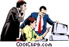 Men working at computers Vector Clipart illustration