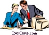 Vector Clip Art graphic  of a Man & woman working at