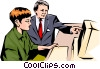 Man & woman working at computer Vector Clipart image