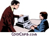 Man & woman meeting at computer Vector Clipart image