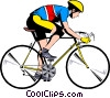 Vector Clip Art image  of a Cyclist on ten speed bike