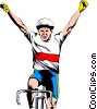 Cyclist winning race Vector Clip Art picture