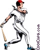 Baseball player making a hit Vector Clip Art image