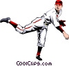 Vector Clip Art picture  of a Baseball player pitching the