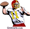 Vector Clipart graphic  of a Quarterback throwing ball
