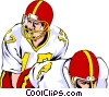 Vector Clip Art graphic  of a Quarterback taking snap