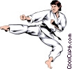 Vector Clipart graphic  of a Martial artist kicking