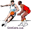Vector Clipart graphic  of a Basketball player dribbling