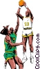 Vector Clipart illustration  of a Basketball player taking a