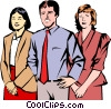 Vector Clipart graphic  of a Man and two women