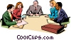 Vector Clip Art graphic  of a Men & women meeting