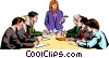 Vector Clip Art picture  of a Men & women meeting