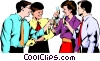 Vector Clip Art picture  of a Men & women celebrating