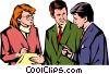Vector Clip Art graphic  of a Men & woman meeting