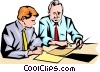 Vector Clipart graphic  of a Men meeting