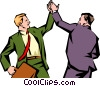 Men giving each other a high-five Vector Clipart graphic