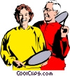 Vector Clip Art graphic  of a Tennis players