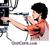 Woman assembly line Vector Clip Art graphic