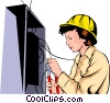 Vector Clip Art graphic  of a Woman electrician