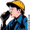 Vector Clipart image  of a Woman talking on walkie-talkie