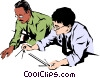 Men with drafting tools Vector Clip Art picture