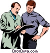 Vector Clip Art graphic  of a Men with a clipboard