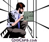 Man with a circuit board Vector Clipart picture