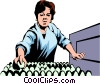Vector Clip Art graphic  of a Woman working with eggs