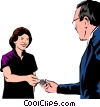 Vector Clipart illustration  of a Woman handing over credit card