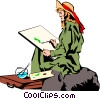 Vector Clip Art picture  of a Woman painting