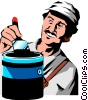 Vector Clip Art picture  of a Man painting
