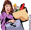 Woman shopping Vector Clip Art image