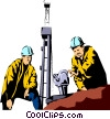 Oil rig workers Vector Clip Art graphic