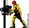 Man working on oil rig Vector Clipart picture