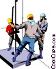 Vector Clipart graphic  of a Men working on oil rig