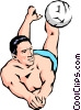 Volleyball player digging ball Vector Clipart picture