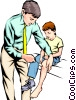 Vector Clip Art graphic  of a Doctor with child patient