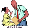 Vector Clip Art image  of a Doctor with young patient