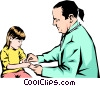 Vector Clipart picture  of a Doctor with young child