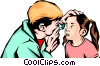 Vector Clipart illustration  of a Doctor examining child