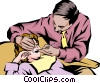 Dentist checking patient's teeth Vector Clip Art picture