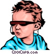 Vector Clip Art image  of a Baby with cyber glasses