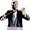 Conductor leading orchestra Vector Clipart graphic