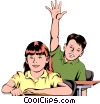 Vector Clipart image  of a Student raising hand