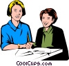 Vector Clip Art image  of a Teacher & student